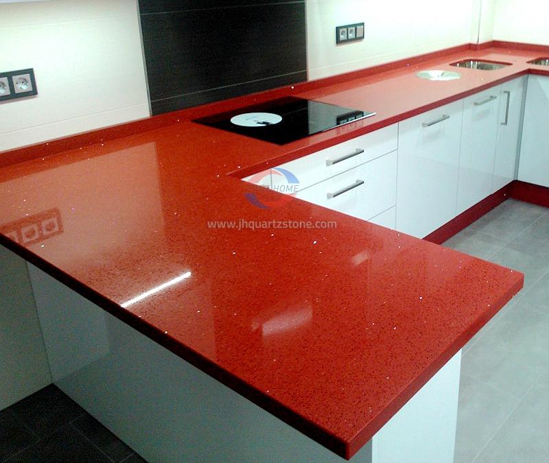 JH-CR012 Crystal Red Starlight Quartz Slab Surface 2