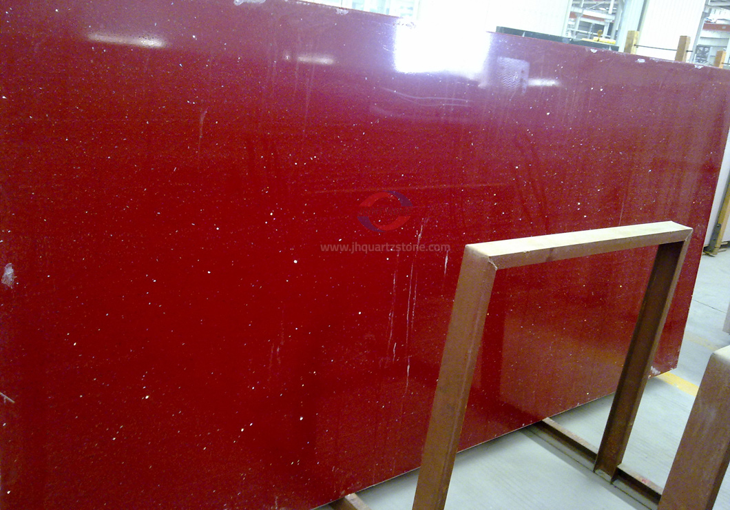 JH-CR012 Crystal Red Starlight Quartz Slab Surface 4