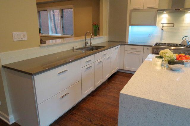 Modern Island White Quartz Kitchen Countertops 2