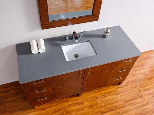 China Quartz Bathroom Countertops With Sink Supplier