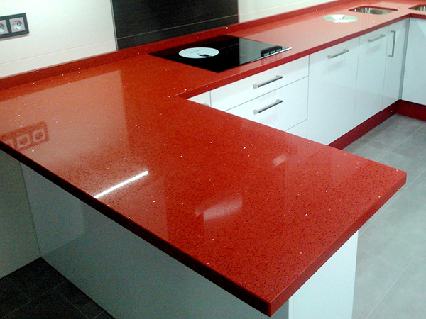 Crystal Red 8300 Aurora Rubini Quartz Stone Slab For Countertops