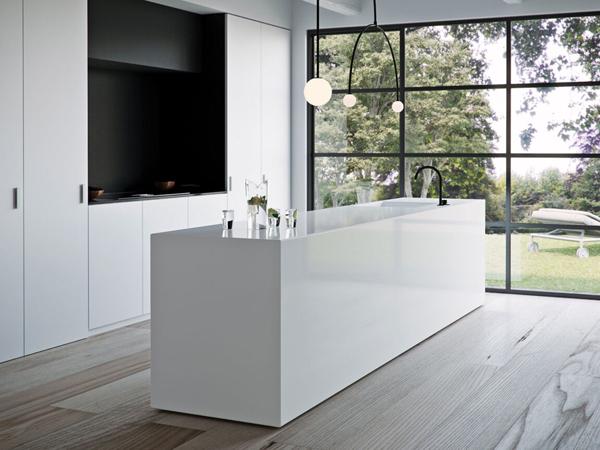 China Solid White Quartz Stone Slabs For Kitchen Countertops