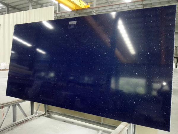 China Blue Starlight Jumbo Size Quartz Stone Slabs 2